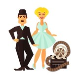 Retro cinema actor and movie actress vector flat cinematography character icon - 182349444