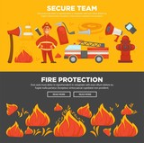 Fire protection and firefighter team of fire security instruction web banners flat design template - 182349803