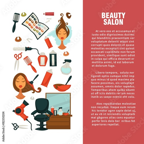 Hairdresser beauty salon vector hair coloring or haricut styling flat information poster