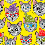 Colorful seamless pattern with cats in hats and glasses.