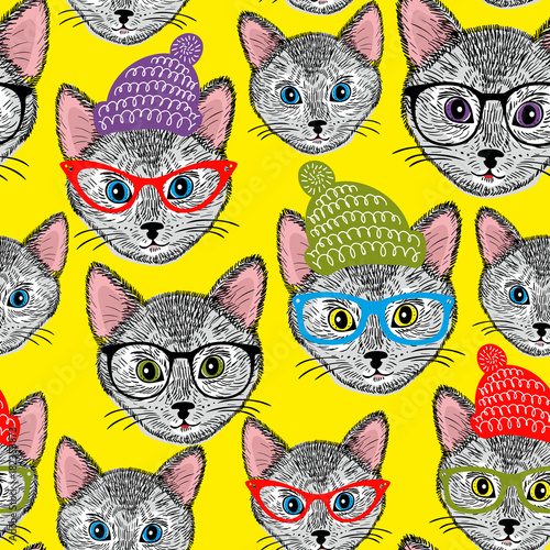 Fototapeta Colorful seamless pattern with cats in hats and glasses.