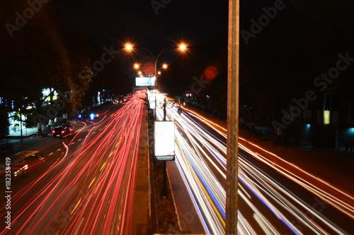 Poster Nacht snelweg Sudirman Street