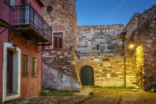 Fototapeta Historical architecture including old city fortification and one of the gate of the old town of Chios, Greece.
