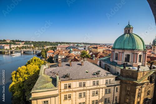 Deurstickers Praag Blick auf Prag aus dem Altstädter Brückenturm