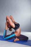 Portrait of sport girl doing yoga stretching exercise . yoga - 182363255