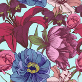 Vector floral seamless pattern with peonies, lilies, roses in vintage style