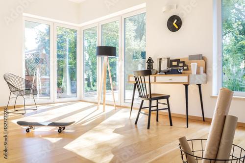 Aluminium Skateboard Skateboard in freelancer's living room