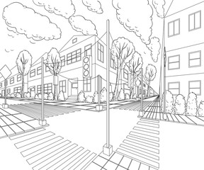 City street with buildings, traffic light, crosswalk and traffic sign. Сityscape background in sketch style. Vector illustration