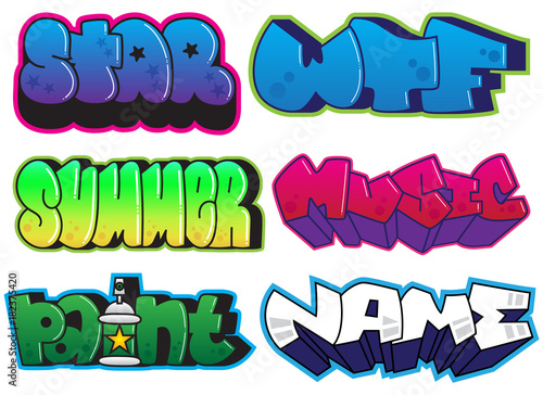 Plexiglas Graffiti Graffiti words set