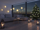 3d rendering. home with christmastree in modern apartment. 2. advent. - 182375607