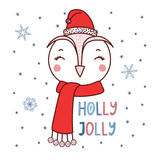 Hand drawn vector portrait of a cute cartoon funny owl in a Santa hat, text Holly jolly. Isolated objects on white background with snowflakes. Vector illustration. Design concept for kids, Christmas.