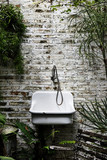 Sink on the brick wall and vintage style - 182378240