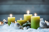 Decorative burning Christmas candles