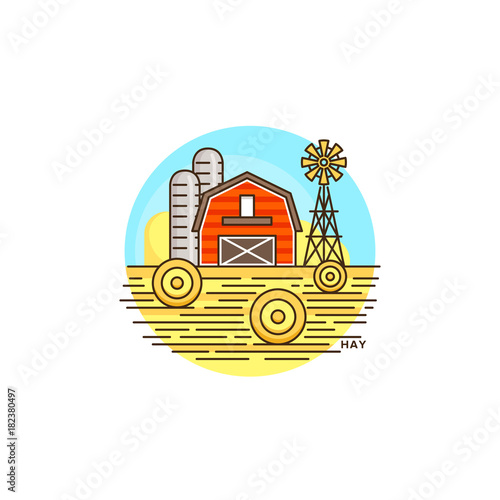 Plexiglas Boerderij Farming hay line icon. Farm barn vector flat illustration with hay field isolated on white background. Farm logo template, element for agriculture business, linear design icon object.