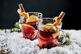 Tasty mulled red wine with orange and cinnamon