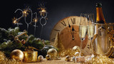 2018 festive golden New Year still life - 182381044