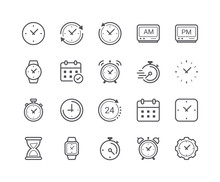 Minimal  Time And Clock Line Icons Sticker