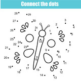 Connect the dots by numbers children educational game. Printable worksheet activity. Butterfly