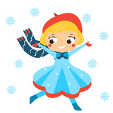 Cute winter girl running in snowfall. Kids winter outdoor activity. Vector illustration