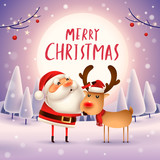 Merry Christmas! Santa Claus and Reindeer in the moonlight. Winter landscape. - 182391430