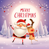 Merry Christmas! Santa Claus and Reindeer in the moonlight. Winter landscape. - 182391431