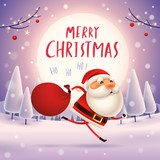 Merry Christmas! Santa Claus carrying sack with full of gifts in in the moonlight. Winter landscape. - 182391442