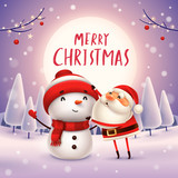 Merry Christmas! Santa Claus makes a Snowman in the moonlight. Winter landscape. - 182391468