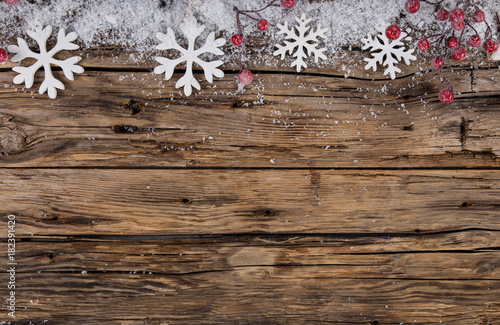 Christmas decoration on wooden background - 182391420