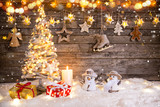 Christmas decoration on wooden background - 182391624