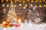 Christmas decoration on wooden background - 182391650
