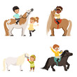 Cute little children riding ponies and taking care of their horses set, equestrian sport, vector Illustrations - 182393082