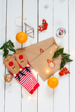 Christmas letters. Flat lay. Decorations. Presents. - 182393650