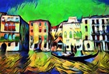 Gondolier on gondola sails on the canal in Venice. Large size modern wall art oil painting on canvas. Colorful abstract impressionism artwork.