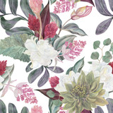 Seamless hand illustrated floral pattern with pink Medinilla Magnifica. Watercolor botanical background - 182396817