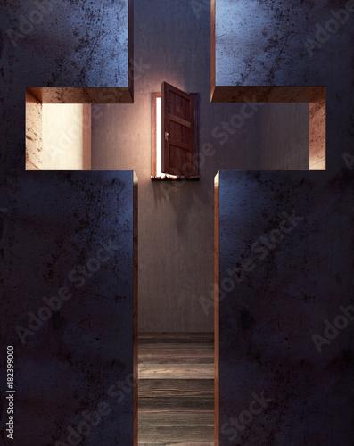 Look through the cross on the open door of salvation 3D Rendering