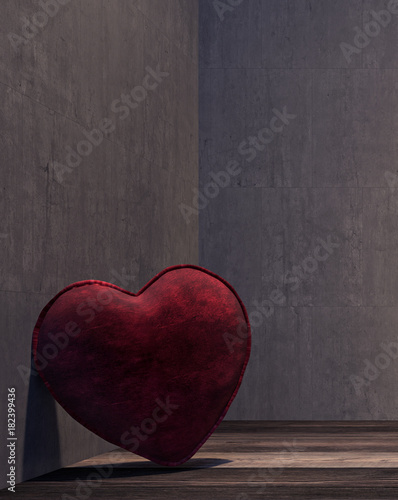 Lonely heart in the dark side of the room 3D Rendering