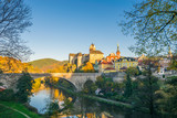 Admiring the sunset colors at  the 12th Century Gothic Castle surrounded by the Ohre River, Loket Castle, Bohemia, Sokolov, Karlovarsky Region, Czech Republic - 182400296