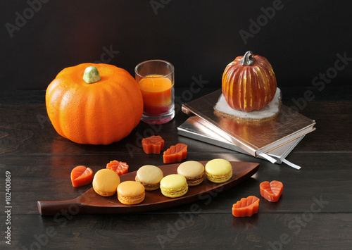 Foto op Aluminium Macarons Pumpkins along with sweet confectionery