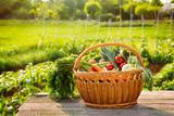 Organic vegetables in wicker basket - 182401491