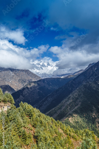 Poster Nachtblauw Mountain landscape with beautiful nature. Himalaya mountain view, Sagarmatha national park, Nepal.