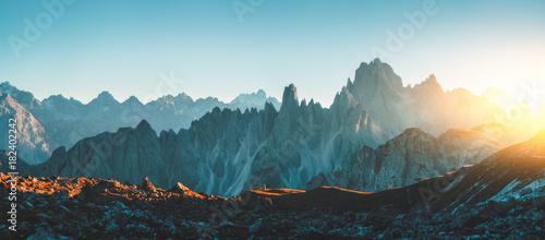 Poster Groen blauw Dolomites Alps rocky mountain range at Tre Cime Di Lavaredo