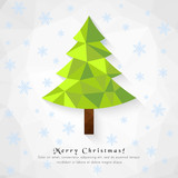 Merry Christmas with low poly pine tree and falling snowflakes