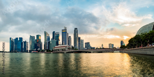 Singapore business district skyline during sunset Poster