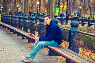 Young American man wearing blue sweatshirt, fashionable destroyed jeans, gray casual shoes, sits on long bench at Central Park, New York in autumn day, looks down, reads red book. Filtered effect..
