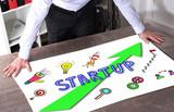 Startup concept on a desk - 182404635
