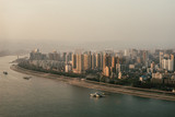 Yichang City in Misty Sunset