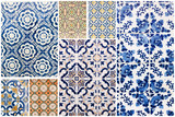 Beautiful collage of different traditional portuguese tiles called azulejos - 182411439