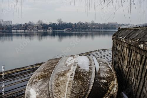 Plexiglas Pier Boat at a lake in Beijing
