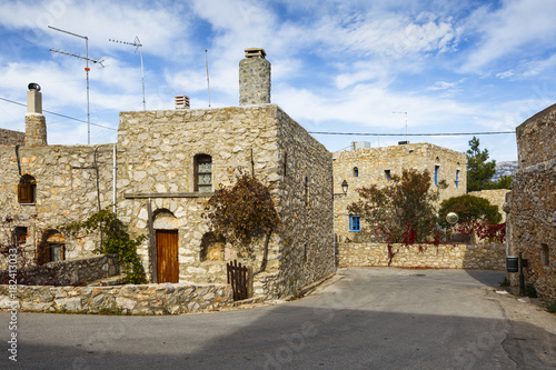 Fototapeta Stone houses in Avgonima village on Chios island in Greece.
