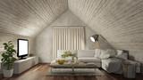 Wohnzimmer auf Dachboden mit Sofa und Fernseher - 182414635